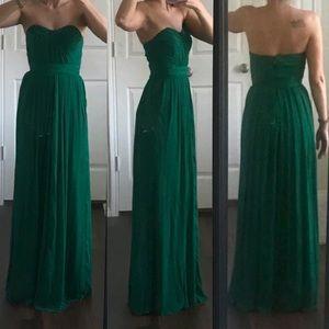 Badgley Mischka green strapless formal prom dress